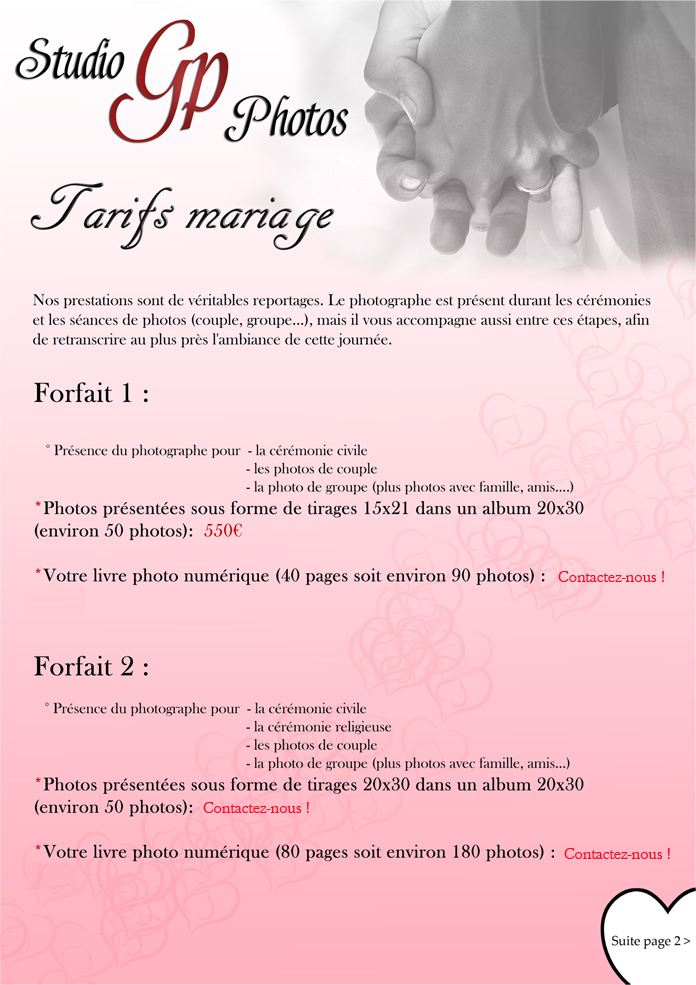 tarifs mariages Gp Photos (page01)
