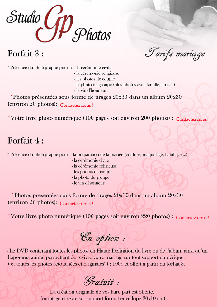 tarifs mariages Gp Photos (page02)